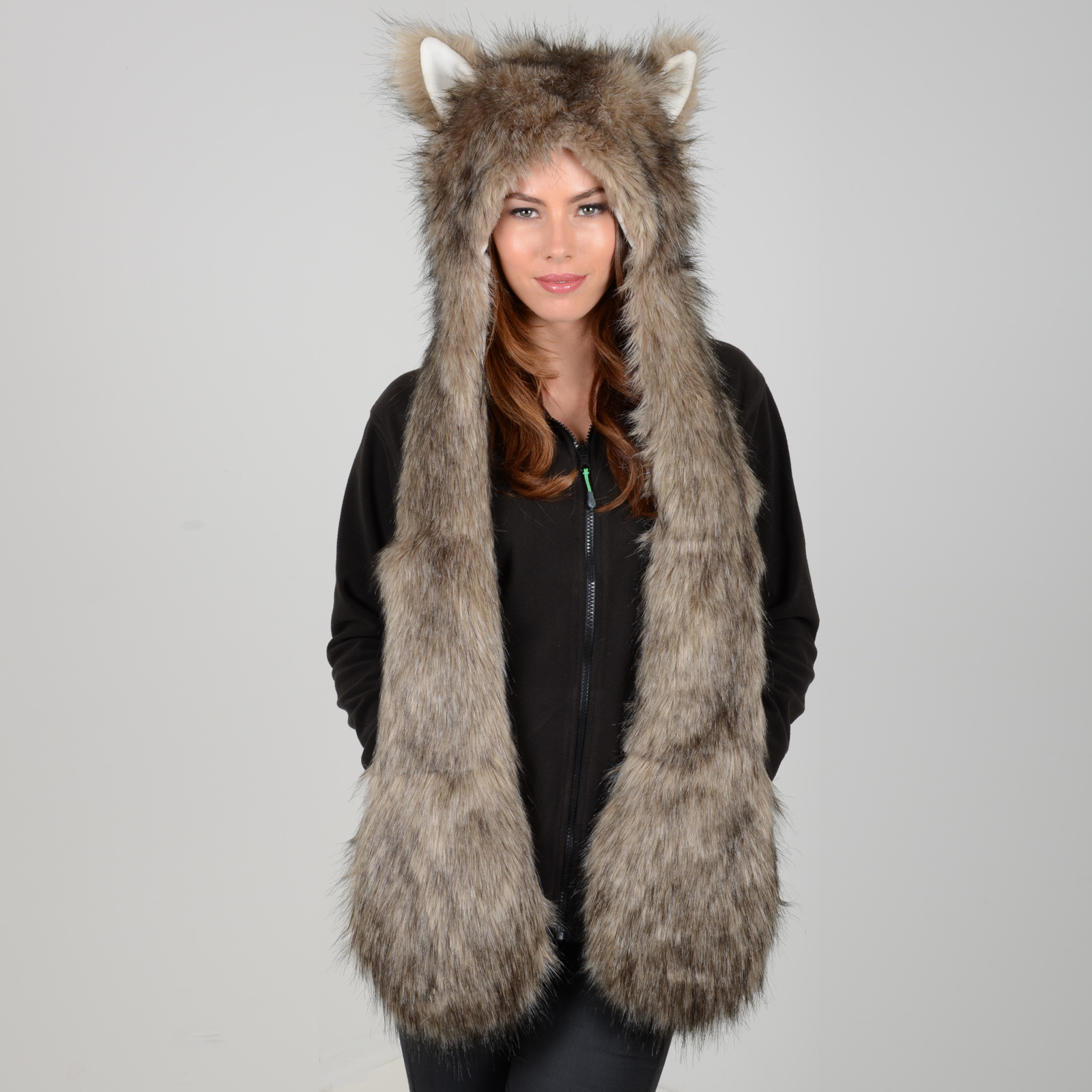 Gorgeous Ladies Warm Animal Hat With Attached Scarf - Husky, Leopard ...