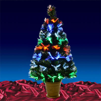 80cm Green Fibre Optic Christmas Tree With Gold Pot New