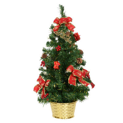 60cm Decorated Green Tree with Red Bows