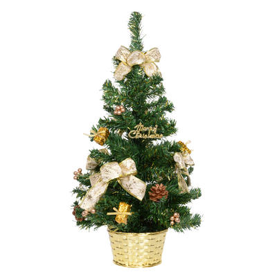 60cm Decorated Green Tree With Gold Bows New