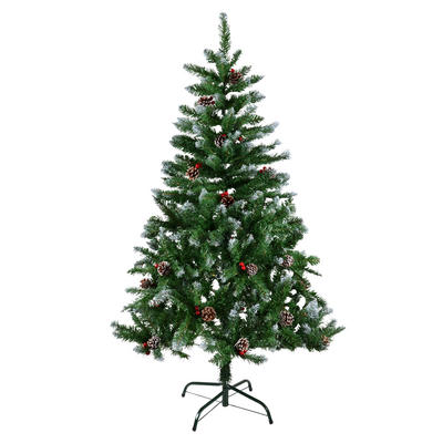 5Ft Green Snow Tip Tree with Red Berries & Natural Cones with Snow
