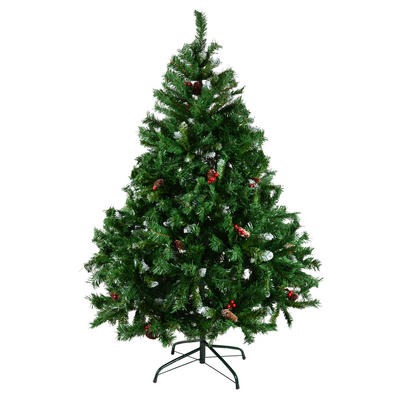 5Ft Green Mix Tip Tree with Snow Tip, Berries & Cones