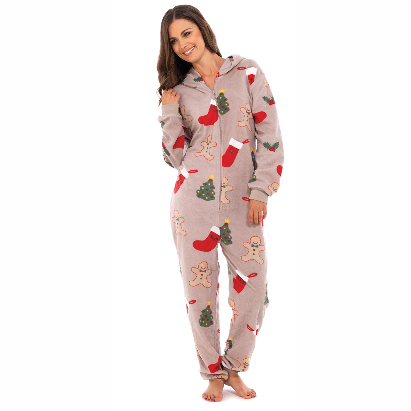 Ladies Fairisle All-In-One With Hood Onesie Christmas Festive ...