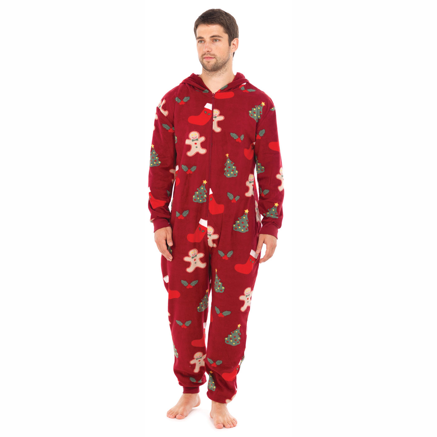 Adults Mens Xmas All-In-One With Hood Christmas festive Nightwear ...