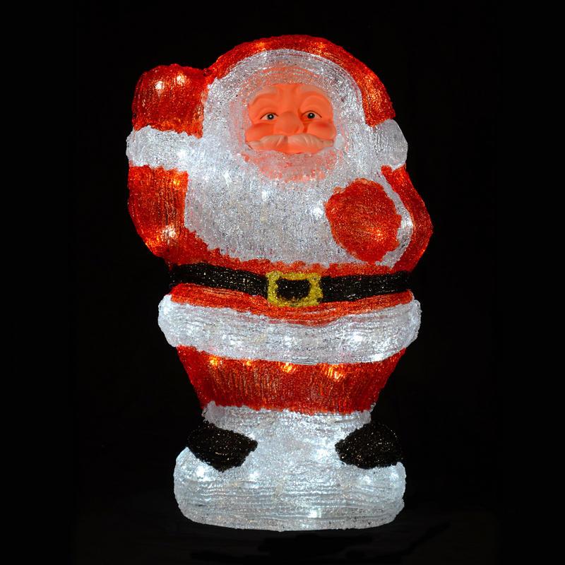 Christmas acrylic waving santa claus led light up