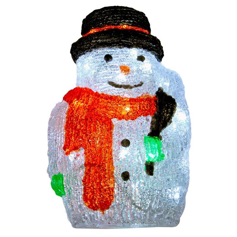 Christmas Acrylic Snowman With Broom LED Light Up