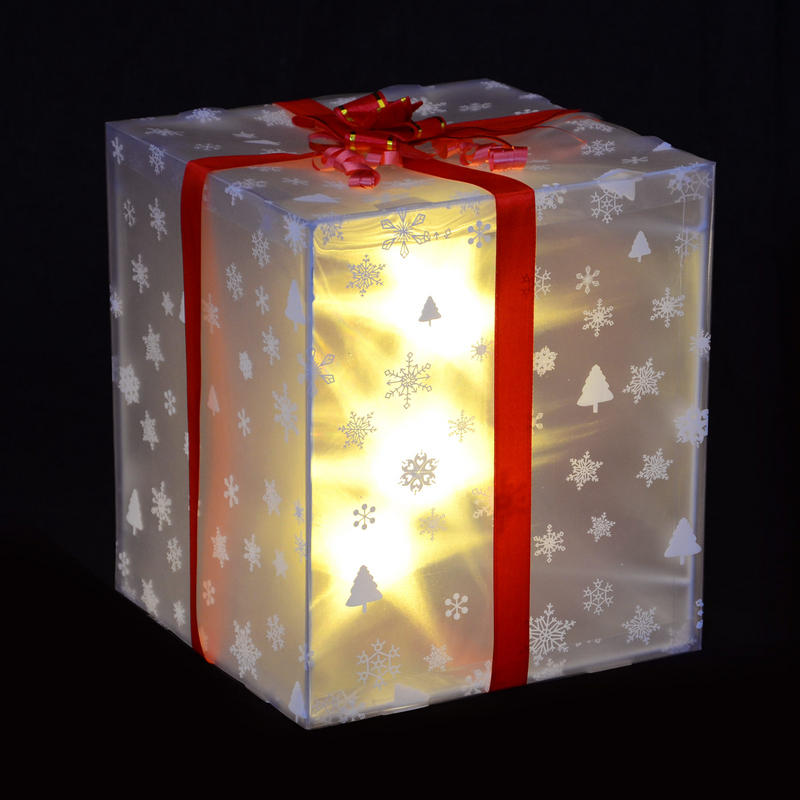 Christmas light up gift box decoration with red ribbon bow amp white led