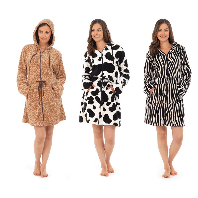 New Ladies Zip Up Animal Print Robe Bath Dressing Gown