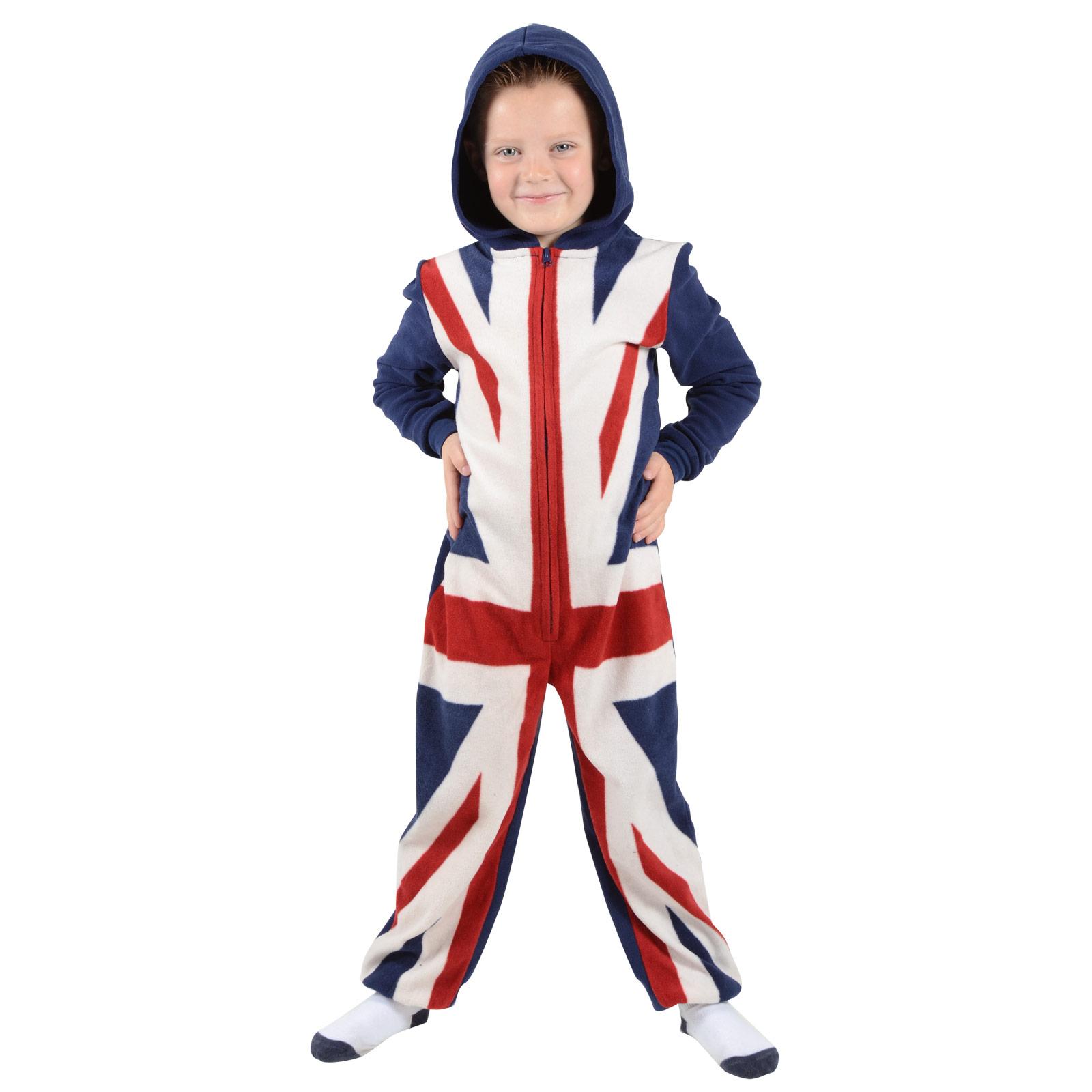 Boys Onesie Union Jack Soft Warm Fleece All in One Pyjamas With ...