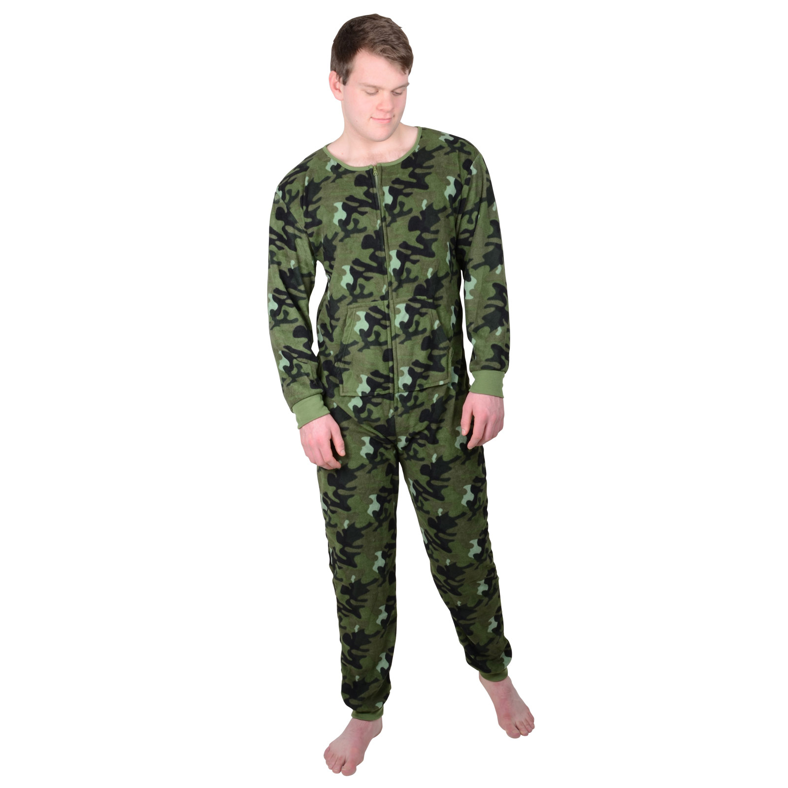 Mens-Onesie-Fleecy-Warm-All-in-One-Green-Army-Camouflage-Design-Sizes ...