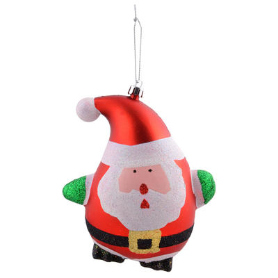 "Shaped Santa With Glittery Details Hanging Christmas Tree Decoration 5""/13cm"