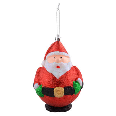 "Shaped Santa Covered With Glitter Hanging Christmas Tree Decoration 5""/13cm"