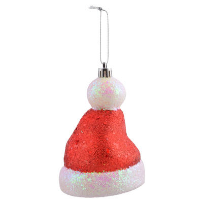 "Shaped Santa Hat Covered With Glitter Hanging Christmas Tree Decoration 4""/10cm"