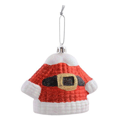"Shaped Santa Suit Covered With Glitter Hanging Christmas Tree Decoration 3.5""/8cm"