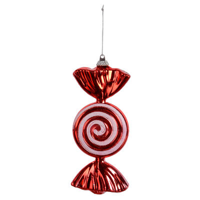"Red Wrapped Sweet Candy With Glitter Swirl Hanging Christmas Tree Decoration 6""/15cm"