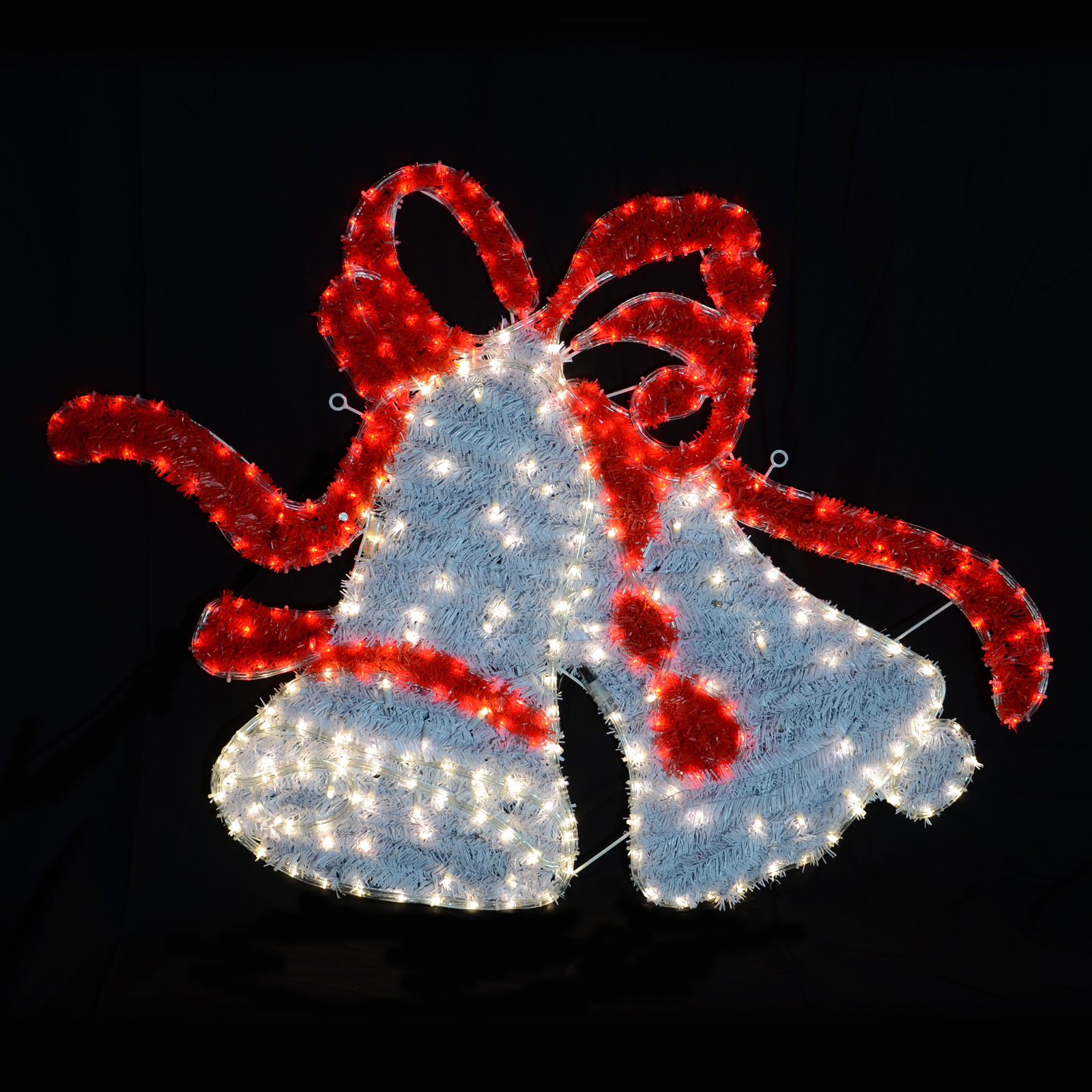 White red twinkling led rope lights twin bell christmas for Led christmas decorations