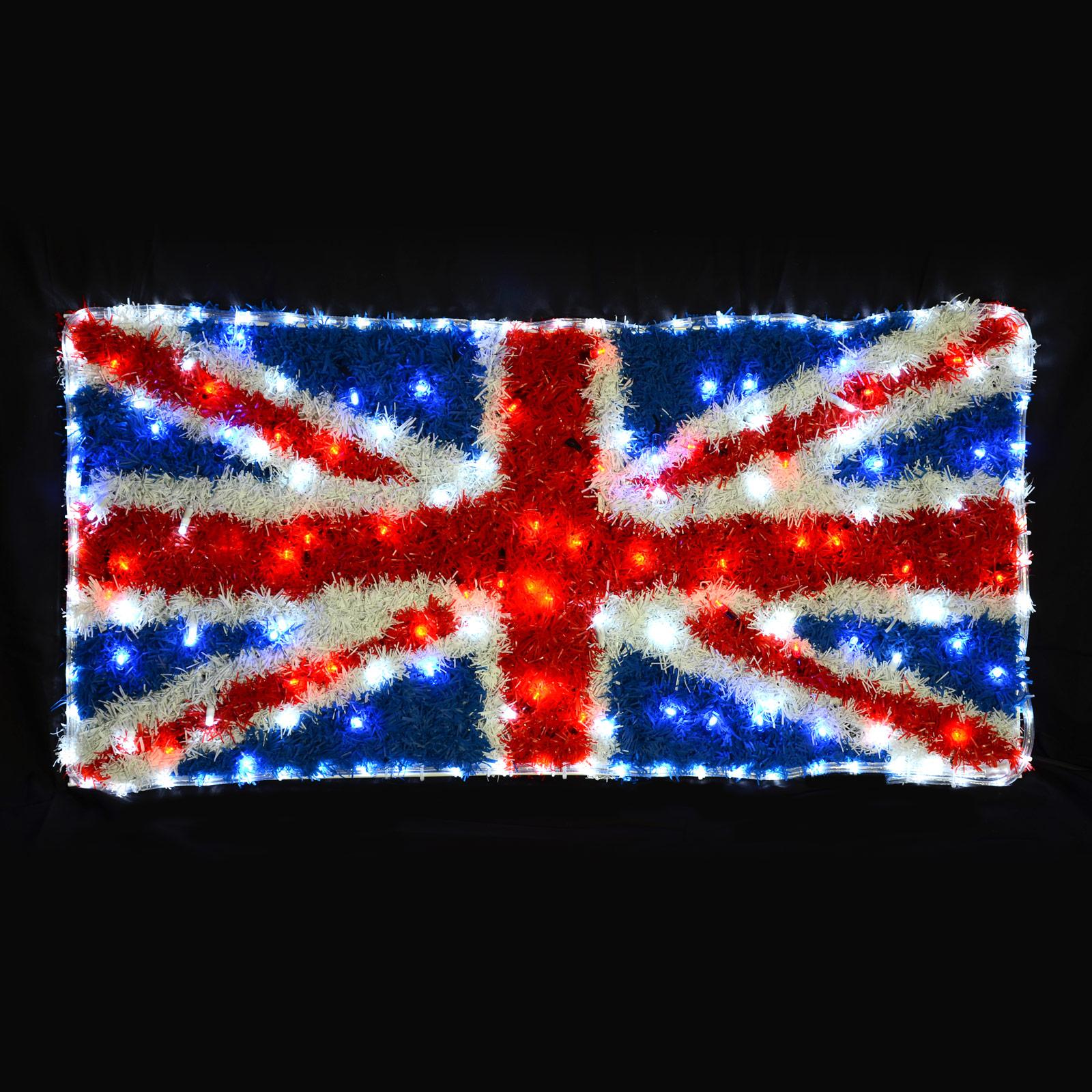 Large flashing led rope light union jack tinsel flag for Large christmas light decorations