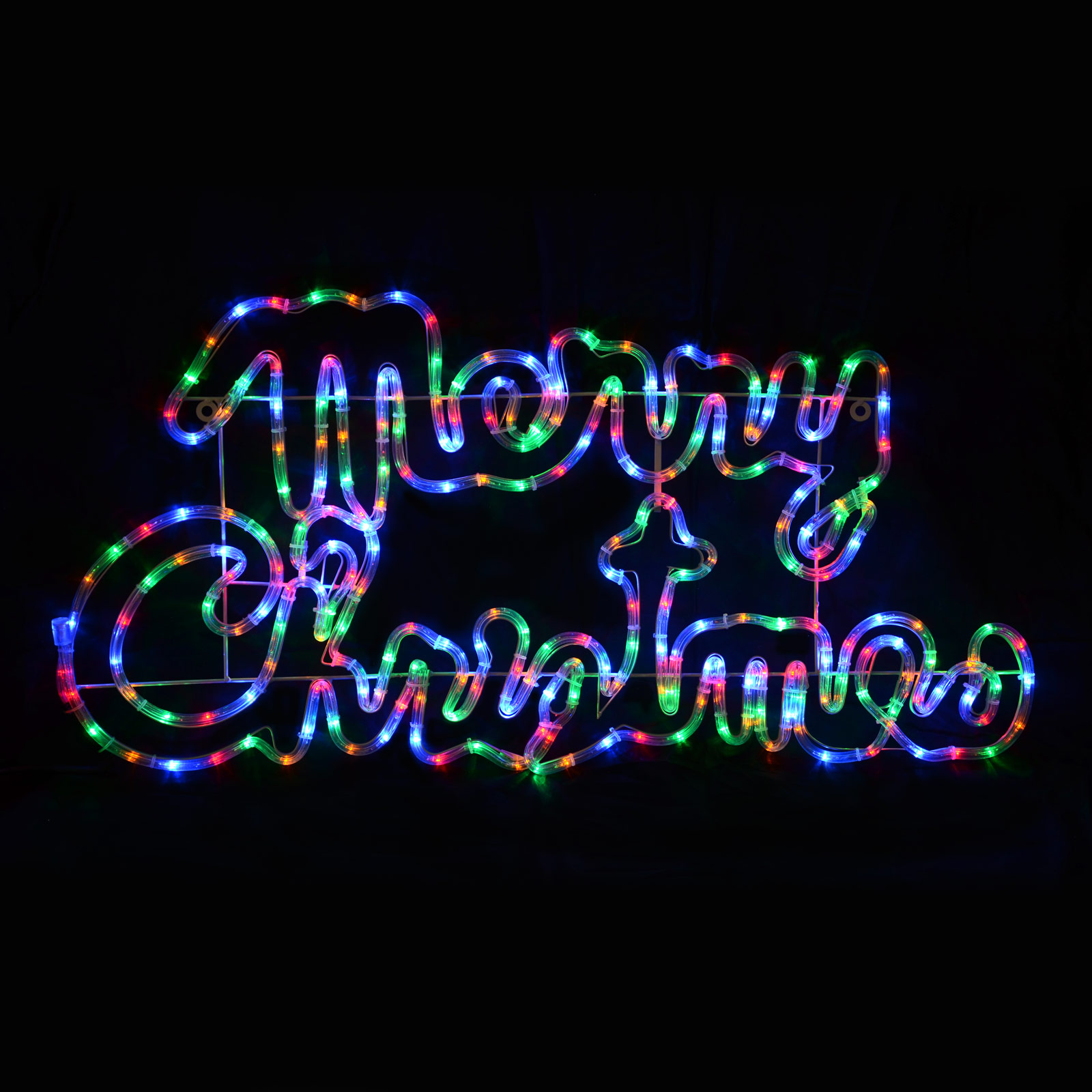 Large multi led rope light merry christmas sign decoration for Large outdoor christmas signs