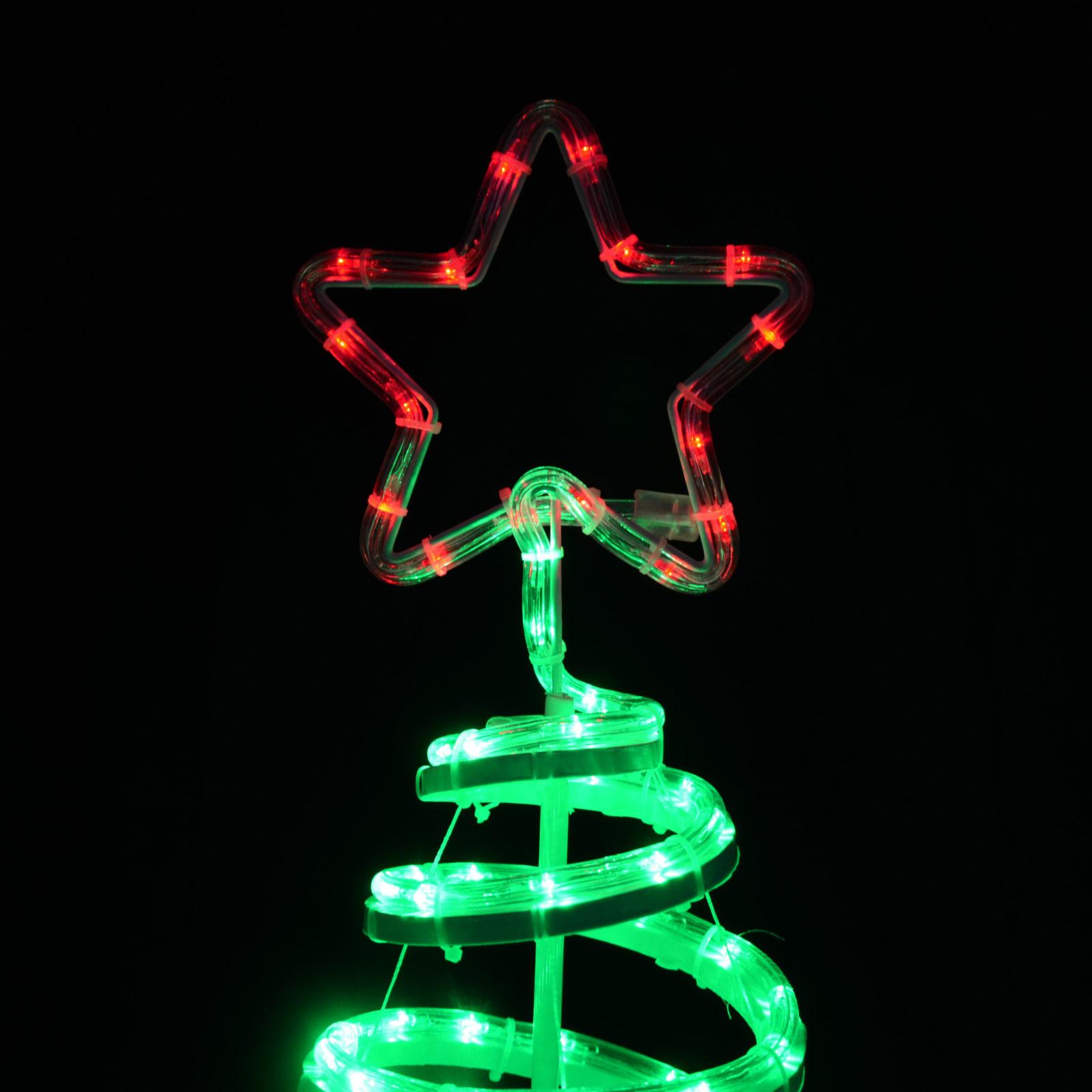 Christmas rope light up decoration spiral tree star 120cm for Outdoor light up ornaments