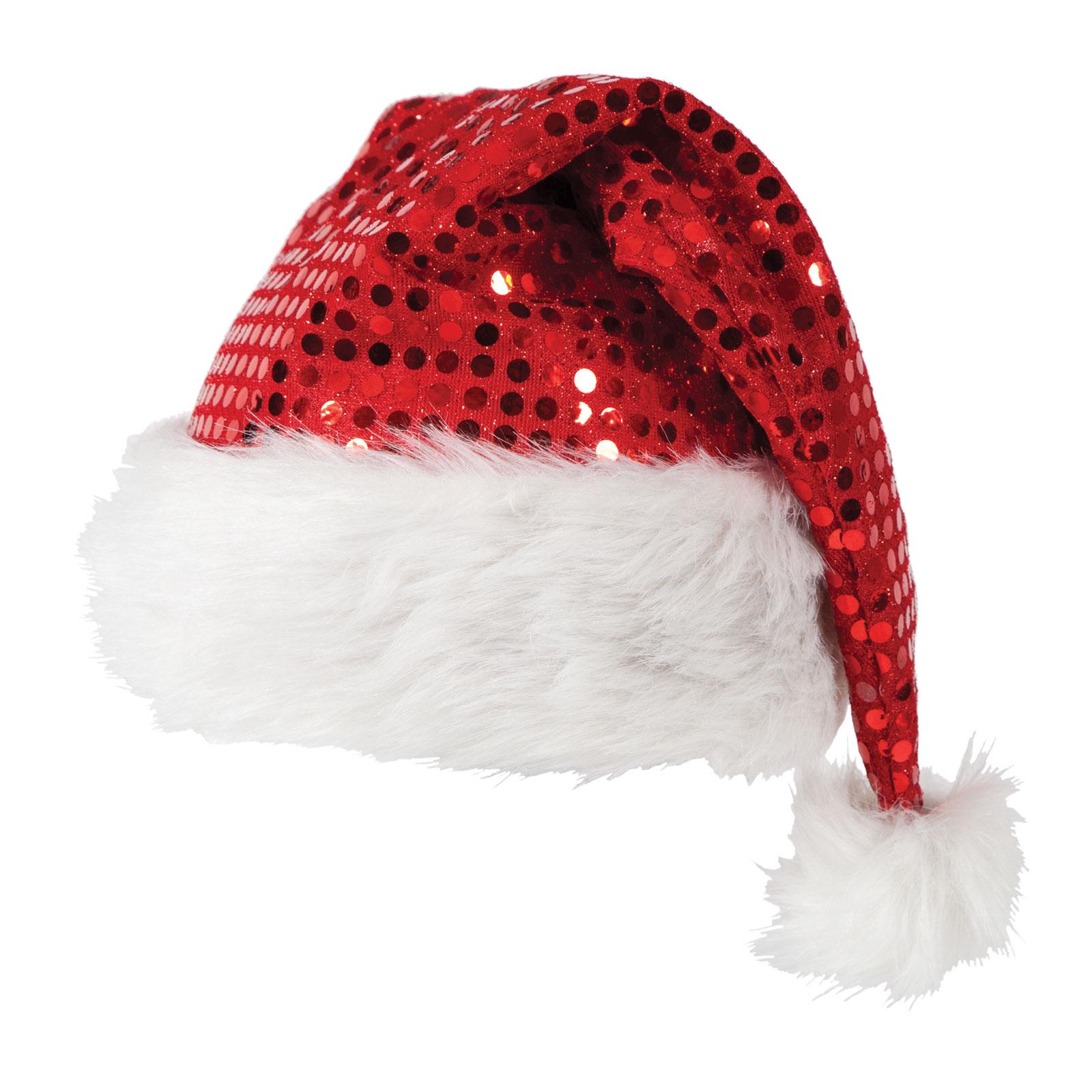 Deluxe sequin santa hat fancy dress christmas xmas crimbo