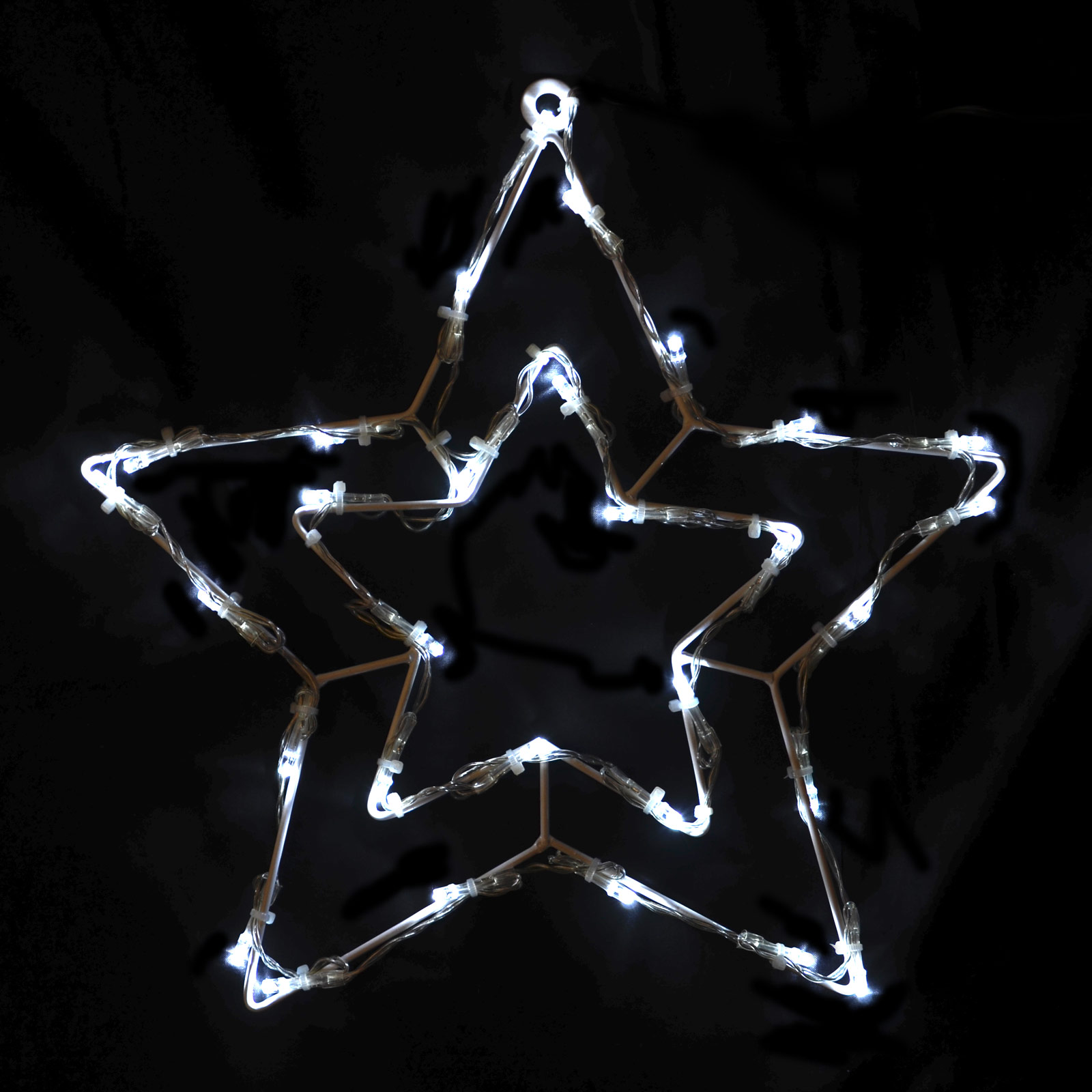 31 x 32cm Wire Frame Double Star with 30 White LED Christmas Crimbo Decoration