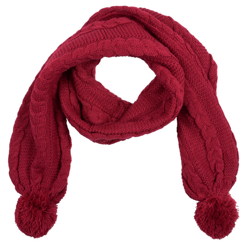Knitting Pattern For Scarf With Pom Poms : Ladies Brandy Scarf With Pom Poms Cable Knit