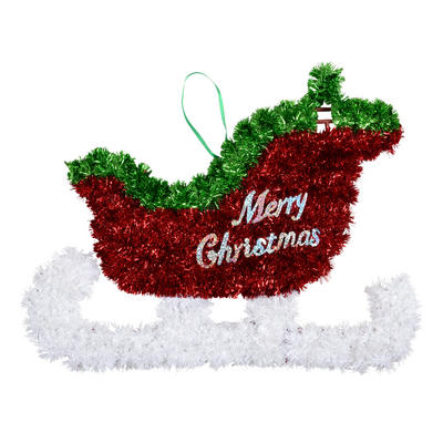 Small Tinsel Christmas Sledge Festive Decoration New