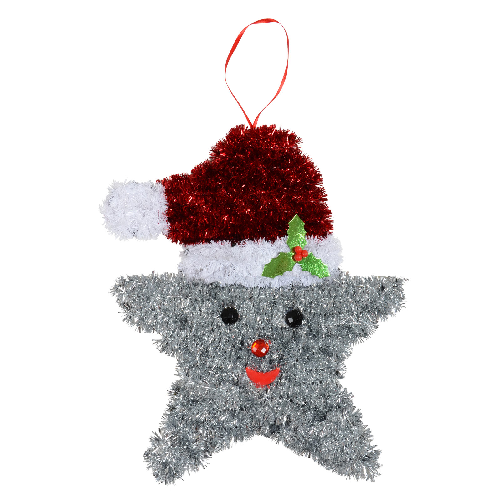 Large Tinsel Christmas Silver Star  Xmas Crimbo Decoration Festive Plaque Wall