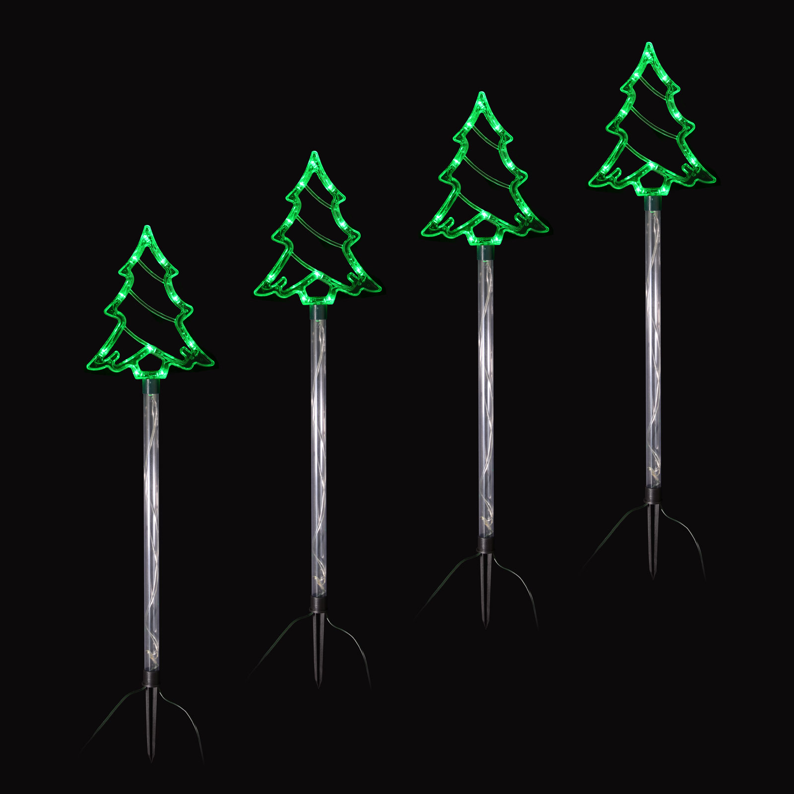Set Of 4 Linked Crystal Trees Pathway Light Up Outdoors Christmas Decoration