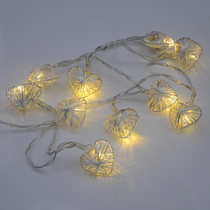 10 Silver Heart Shaped Warm White Fairy Lights String