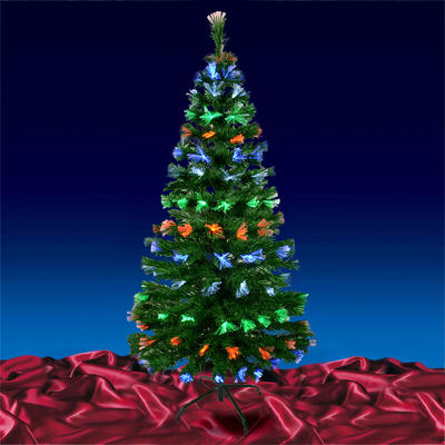 Multi Coloured Fibre Optic Christmas Tree With Foldable Metal Base