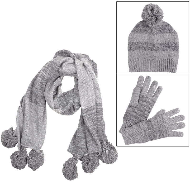 marble knit winter accessory set hat