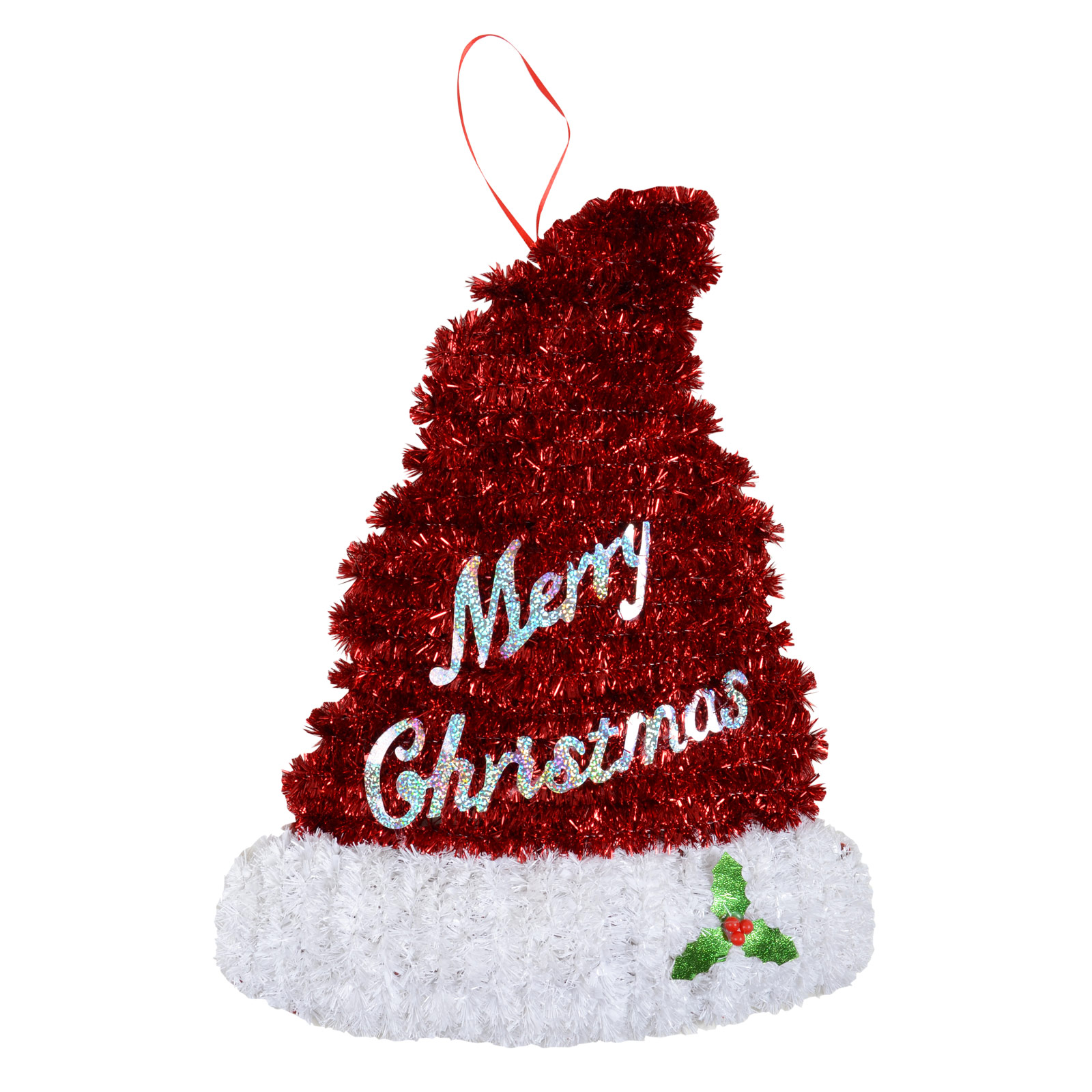 Small tinsel christmas wall plaque decoration santa hat for Small christmas decorations
