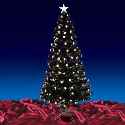 120cm Black Fibre Optic Tree with Warm White LED Tree Top Star