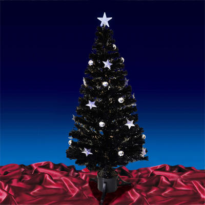 120cm Black Fibre Optic Star & Bauble Tree With Tree Top Star