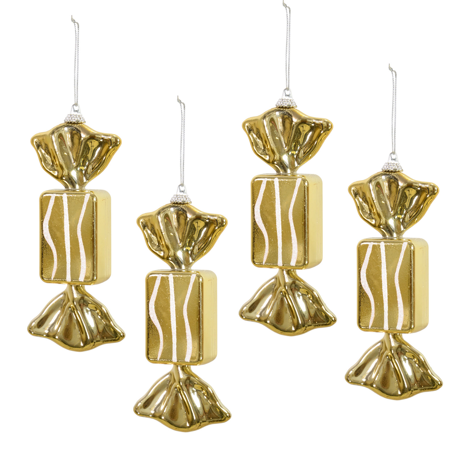 Shiny Gold Glitter Sweet 15cm Set Of 4 Hanging Christmas Tree Decorations Bauble