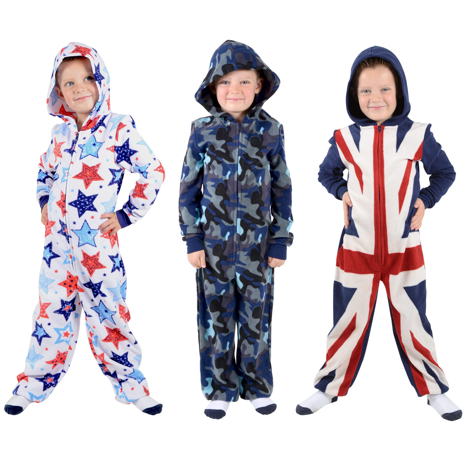 Boys Hooded Fleece All In One Piece Pyjamas Jump Sleep Suit Onesie ...