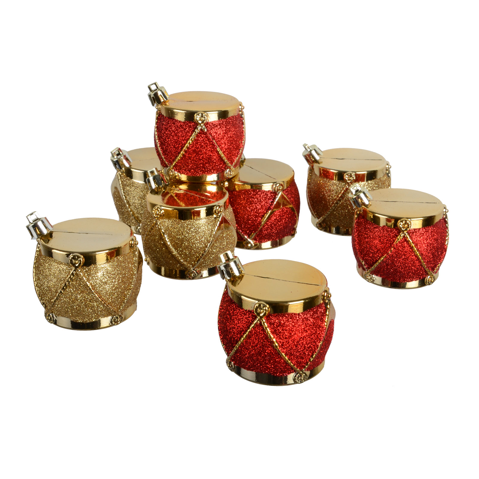 Set Of 8 Hanging 5cm Gold & Red Glitter Drum Tree Decorations Christmas Ornament