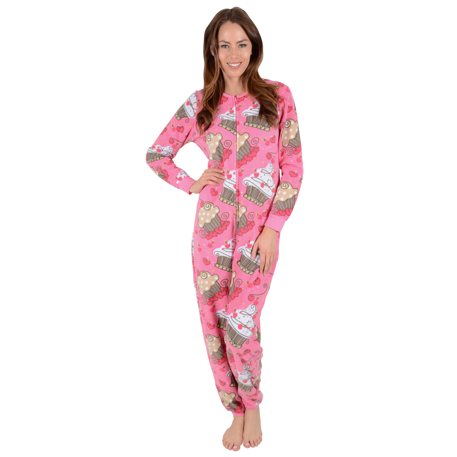 dcdcc8fac4220 Ladies Fleece All In One Piece Pyjamas Jump Sleep Suit Onesie PJs ...