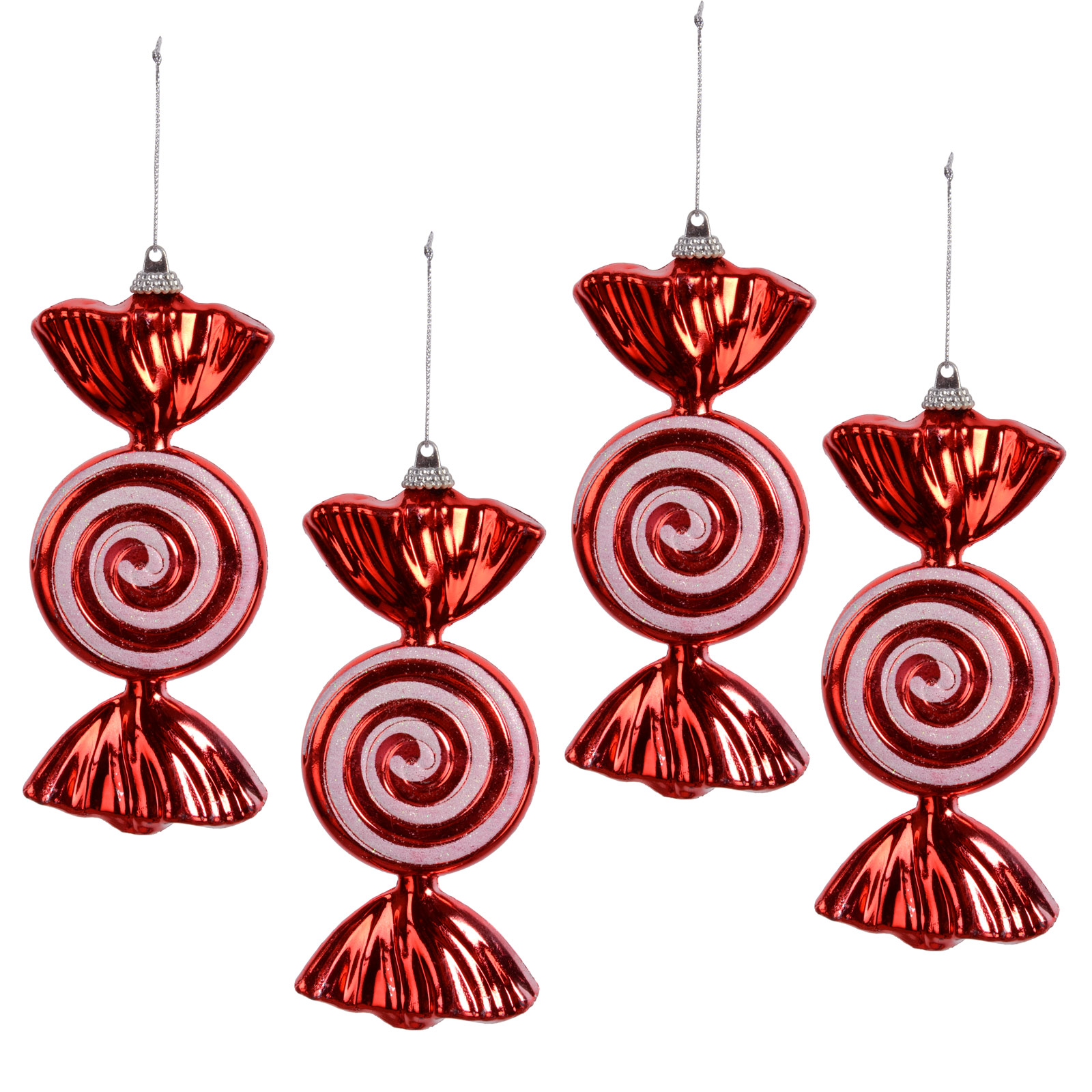 Set Of 4 Hanging Red Glitter Swirl Sweet 15cm Christmas Tree Decorations Baubles