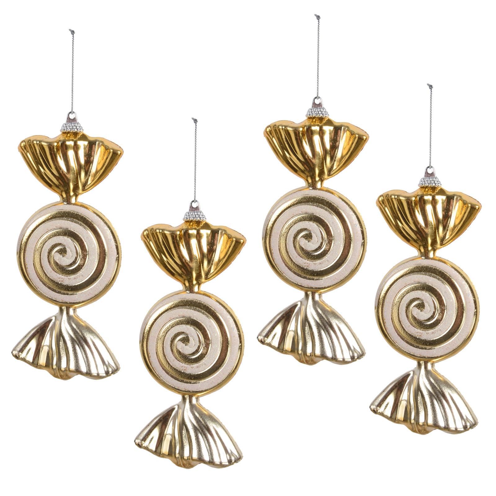 Set Of 4 Hanging Gold Glitter Swirl Sweet 15cm Christmas Tree Decorations Bauble