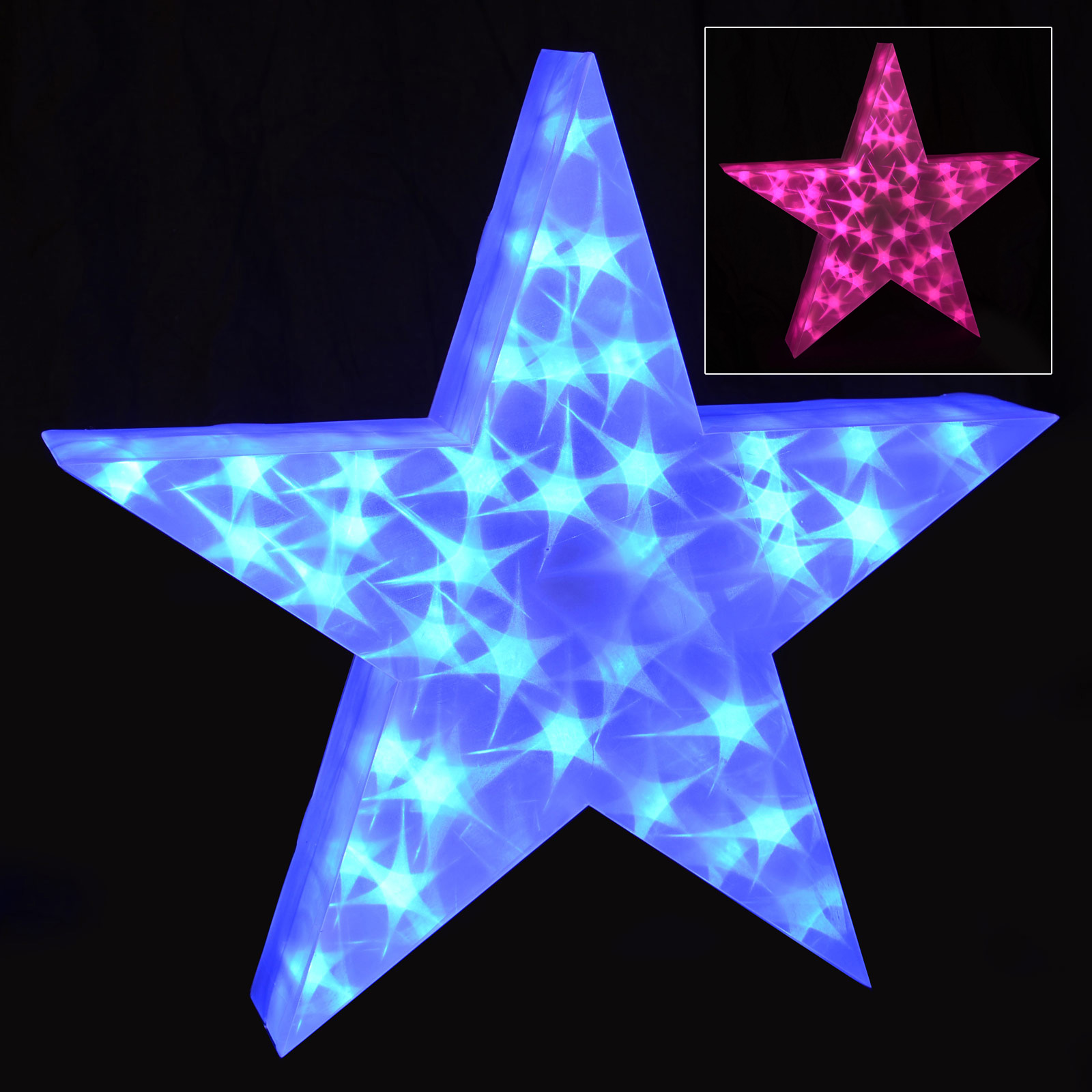 Holographic LED Star Light Up Christmas Decoration 50cm 3D PVC Indoor Blue Pink