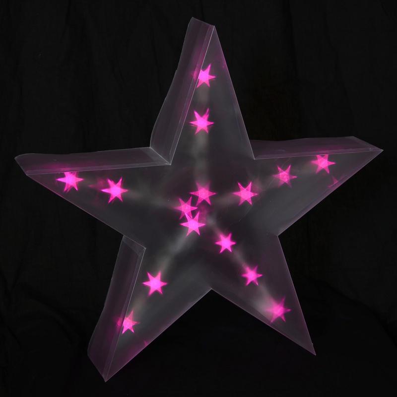 Holographic led star light up cm battery christmas