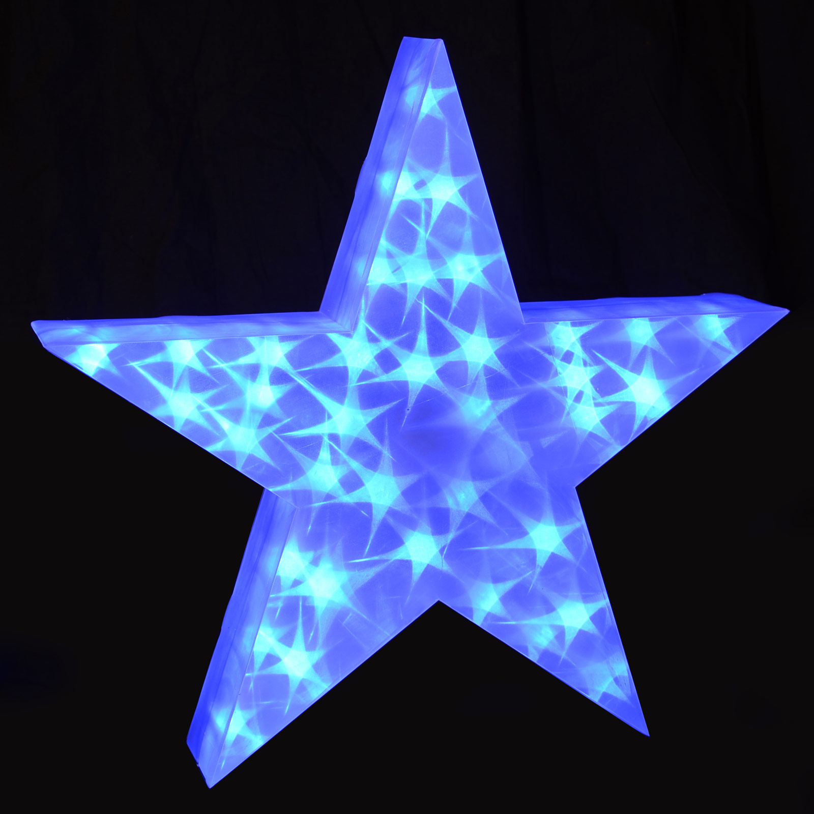 Light Up Holographic LED Star Decoration 50cm 3D PVC Indoor Use Blue Christmas