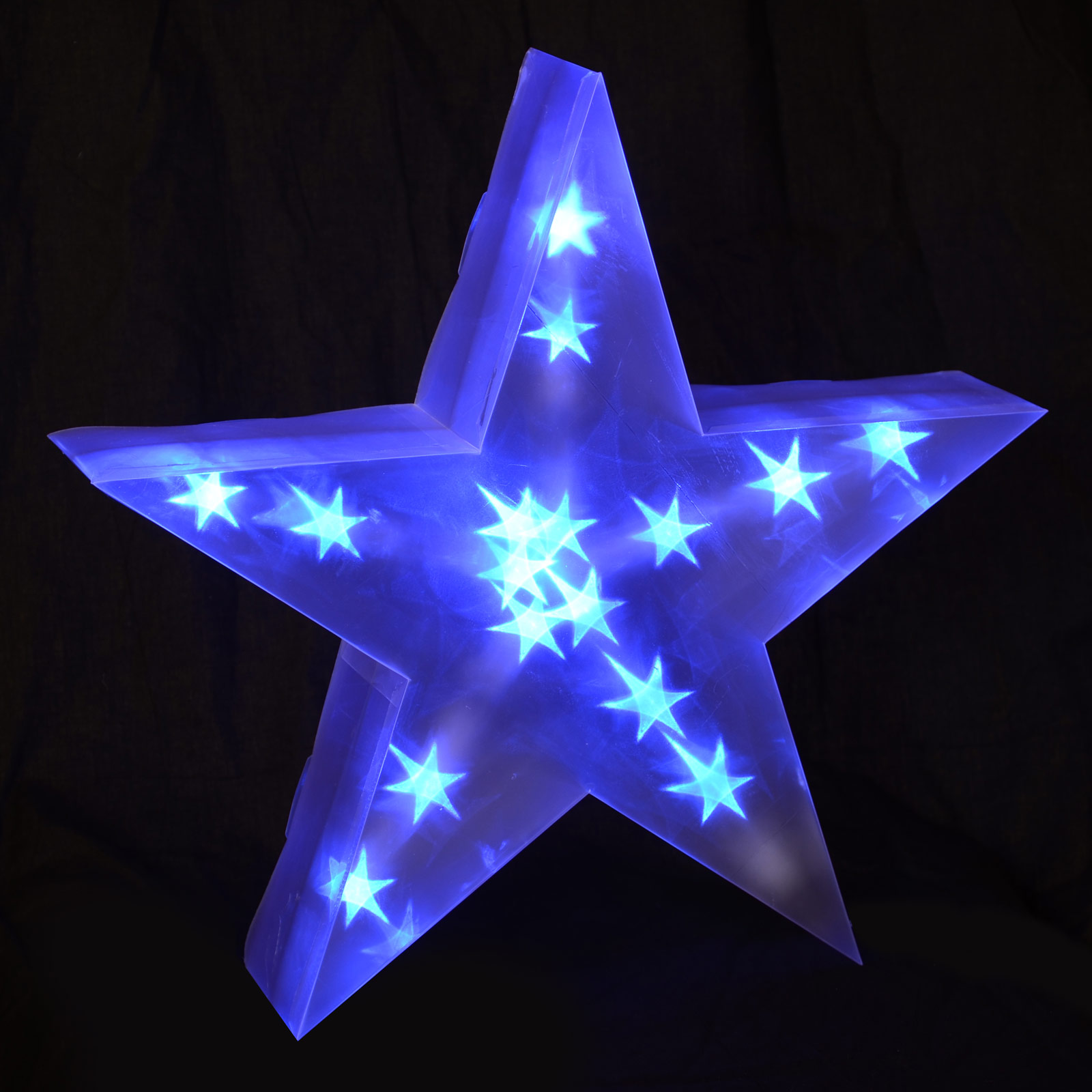 Battery Operated Indoor 40cm 3D PVC Star with Blue LED Lights Christmas Decor