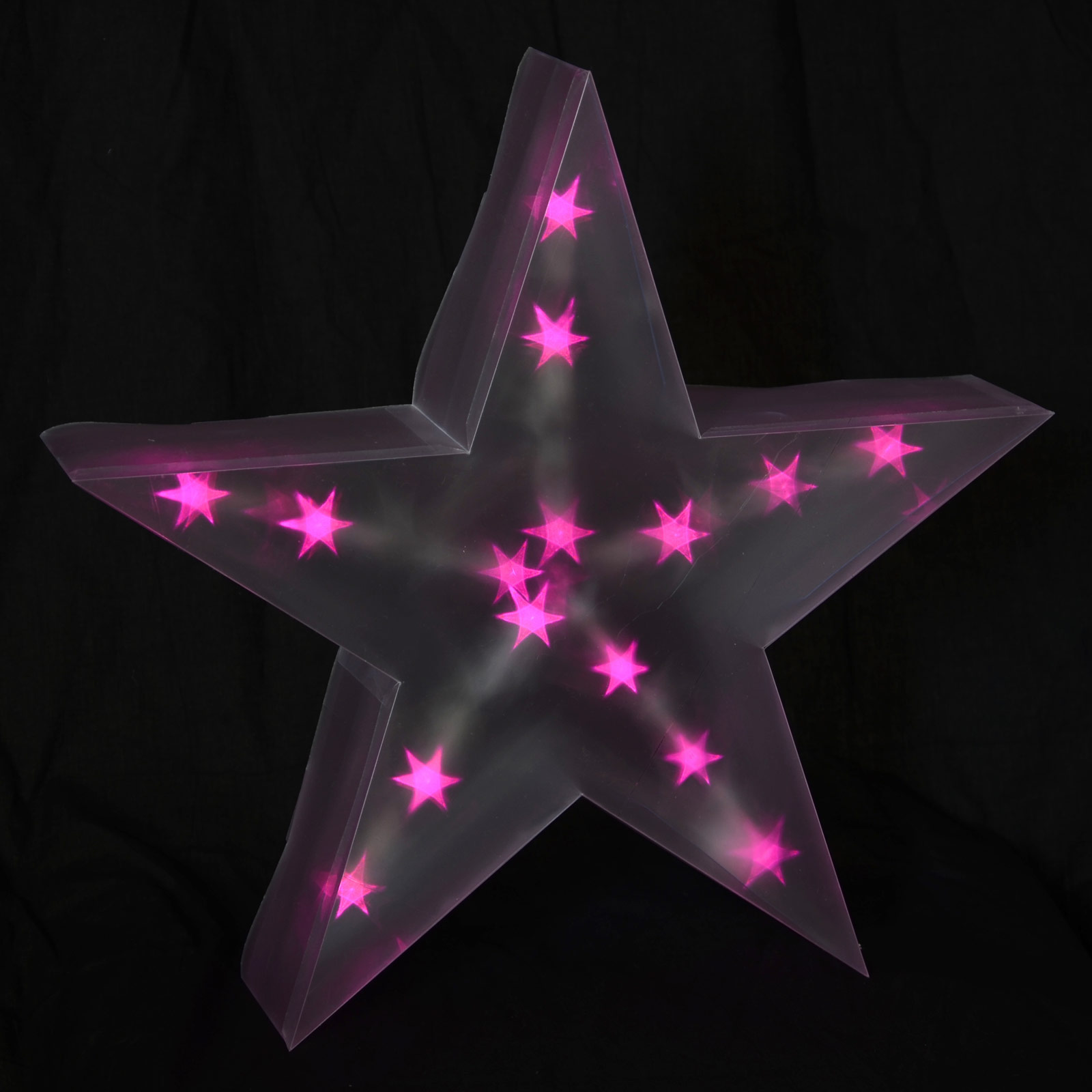 Light Up Holographic LED Star Decoration Battery 40cm PVC Indoor Pink Christmas