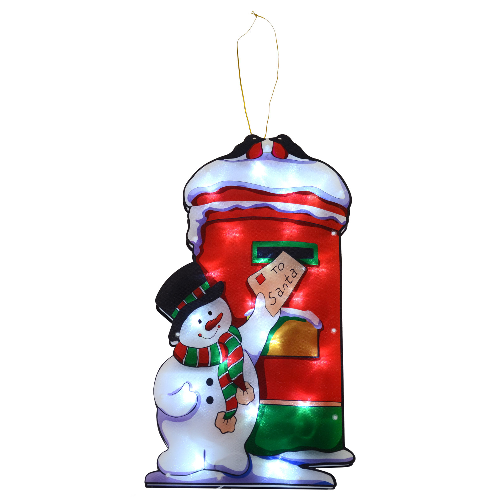 Light Up Snowman & Postbox Decoration Battery LED Window Silhouette Christmas