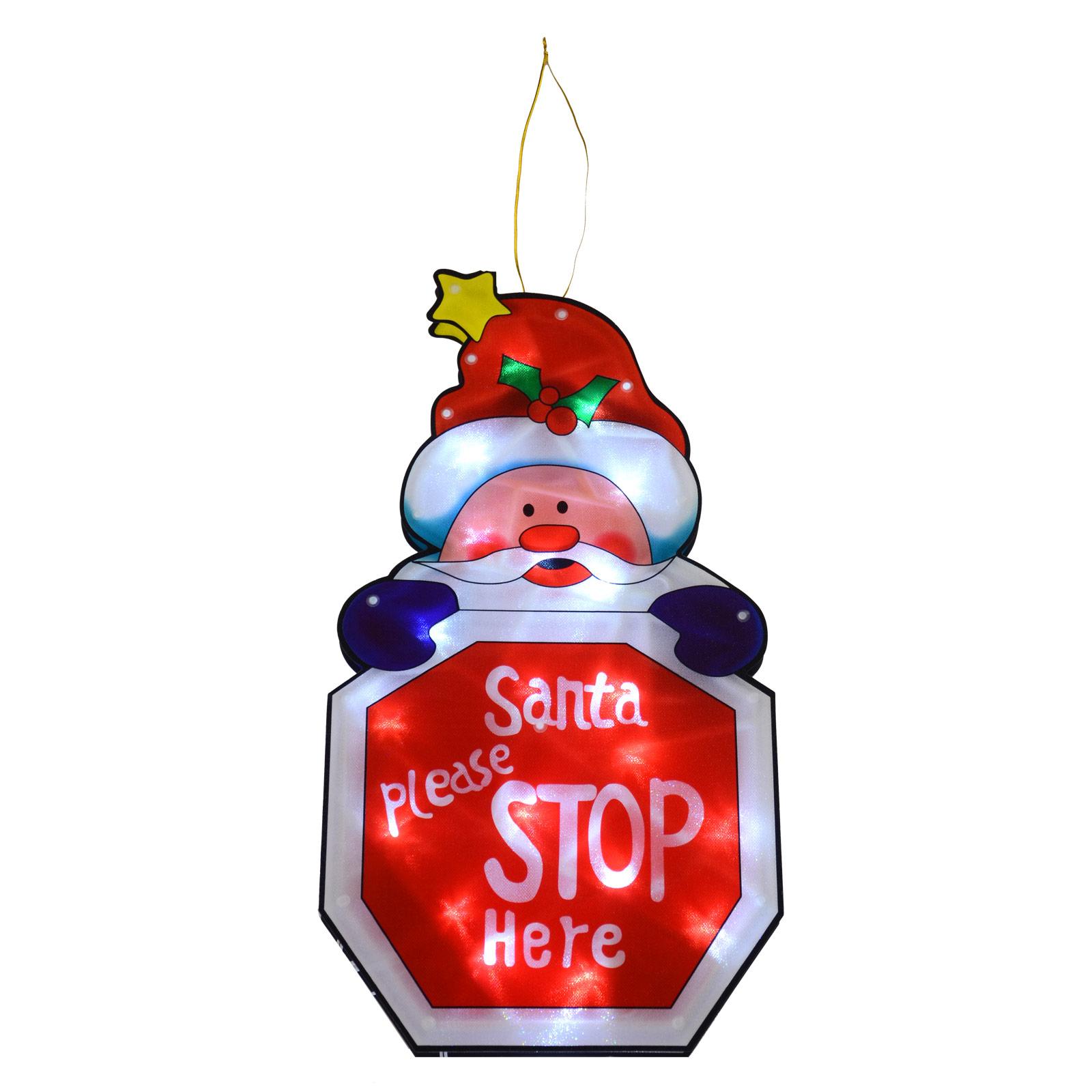 Light Up Santa Stop Here Decoration Battery LED Window Silhouette Christmas 45cm