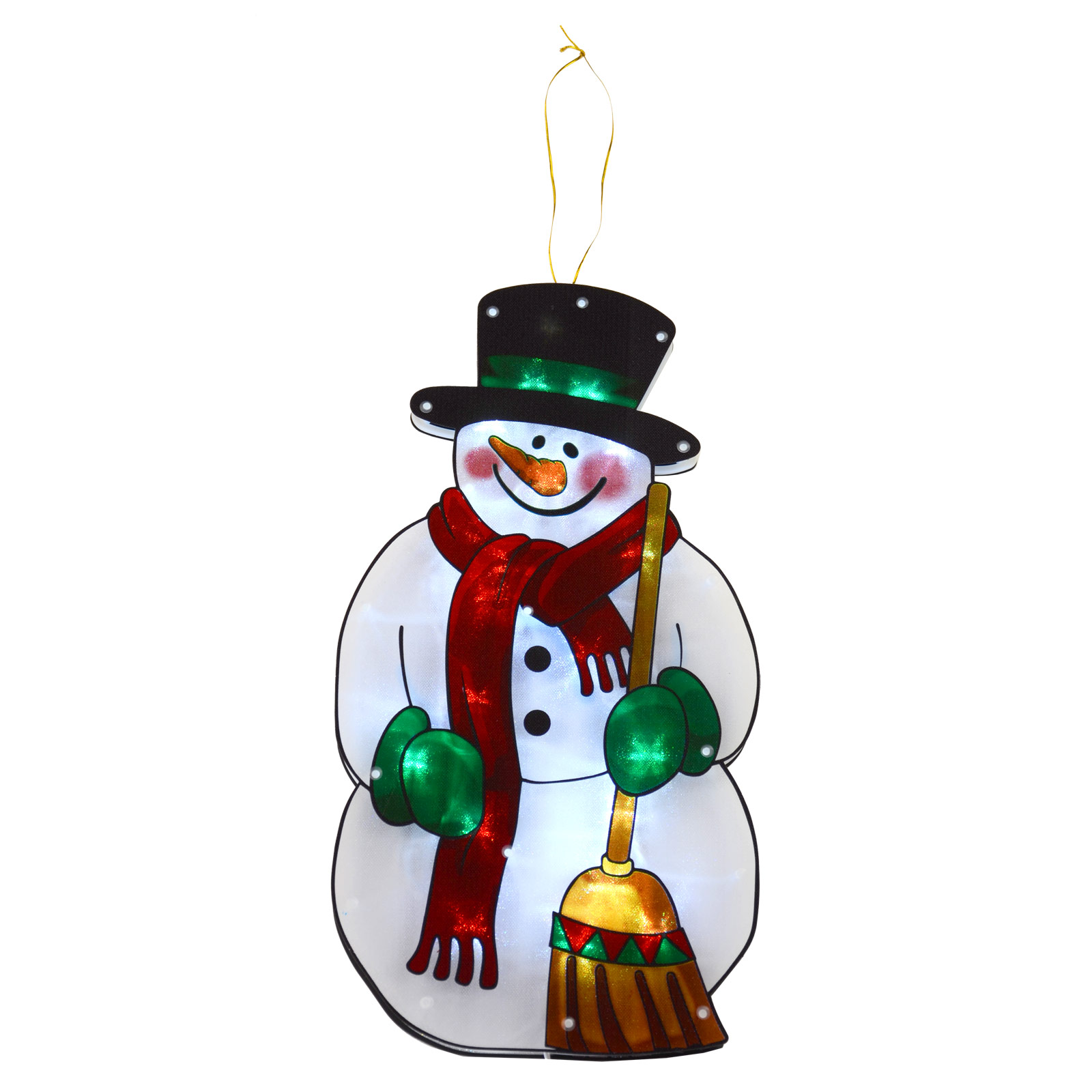 Light Up Snowman Decoration Battery LED Window Silhouette Christmas 45cm