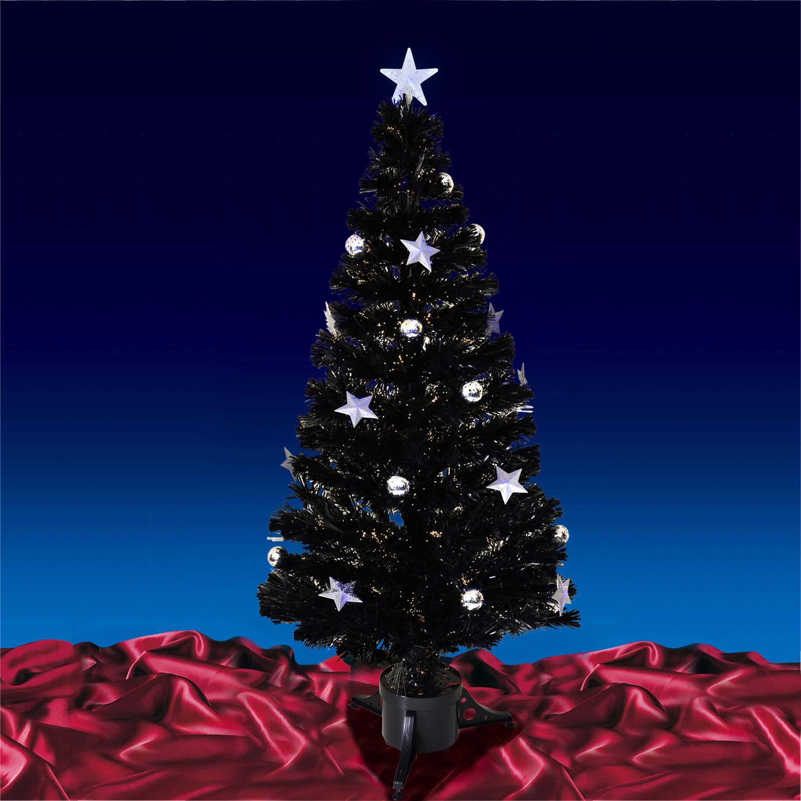 4ft (120cm) Christmas Black Fibre Optic Tree With Warm